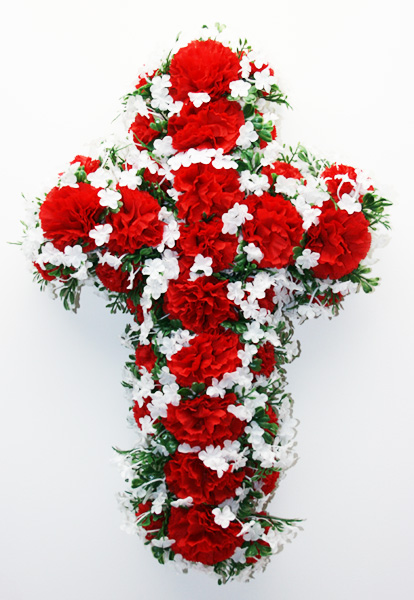 CROSS- silk flowers